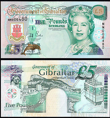 Gibraltar 5 Pounds (P29) 2000 Commemorative Issue Unc