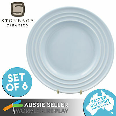 6x Side Plate Claire's Kitchen Blue Plate Ceramic Microwaveable 230MM Stoneage