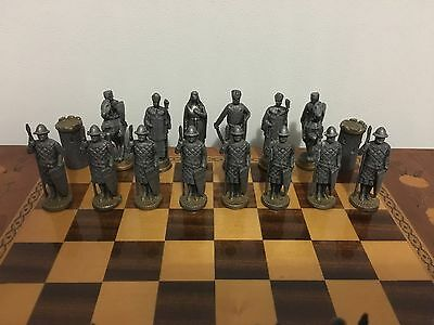 "Vintage Crusades Cast Lead Chess Pieces ""Saladin's V Richard The Loinheart"""