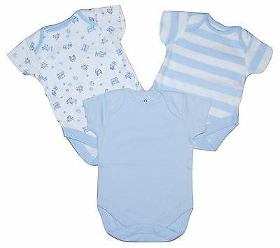 Baby Boys 2 PACK Short Sleeved Body Vests Ex Chainstore Newborn upto 2-3 Years