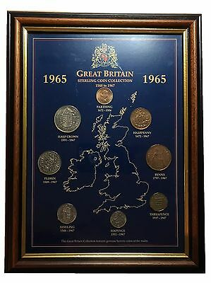 1965 Great Britain Coin Collection in Frame with Glass Front