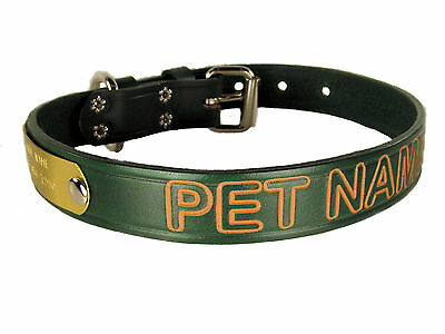 Green Leather Dog collar With Pet name in Arial Font