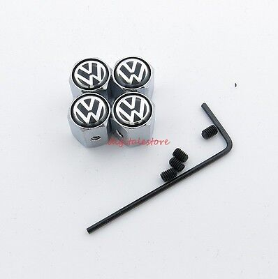 Car Anti Theft Wheel Tire Valves Stem Air Cover Caps Fit For VW Volkswagen 4PCS