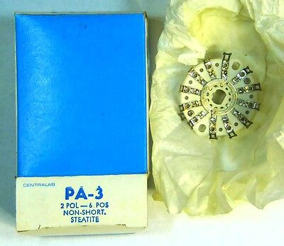 NEW Centralab PA-3 2-Pole 6-Position Steatite Contact Wafer Switch - NOS
