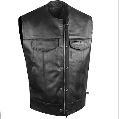 SOA Collarless Leather Vest Anarchy Motorcycle Biker Concealed Carry Outlaws