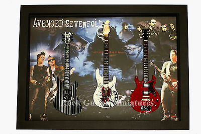 RGM8871 Avenged Sevenfold Miniature Guitars in Shadowbox Frame
