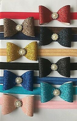 Handmade Glitter Fabric With Pearl Headband Baby Girl Newborn Toddler Girls+ Lot