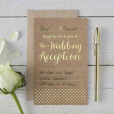 Gold Evening Wedding Reception Invitations & Envelopes x 10 Ginger Ray