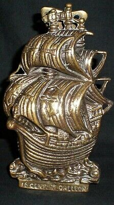 "Summer Sale Reduced Vintage Heavy Brass ""16Th Century Galleon"" Door Knocker (27*"