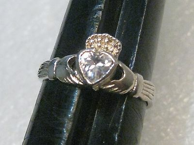 Silver Claddagh Ring with Clear Heart Stone, size 8.5