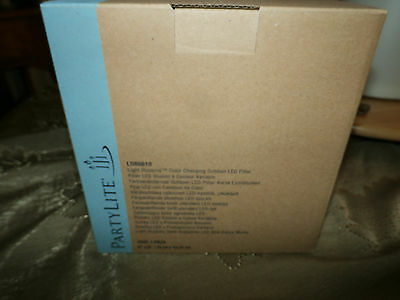 White LIGHT ILLUSIONS™ LED PILLAR Outdoor flameless PARTYLITE NIB Color changing