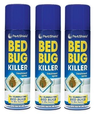 3x Pest Control Bed Bug Killer Aerosol Treatment Spray Eliminate Home Bed 200ml
