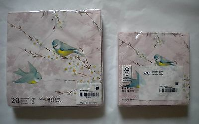 Mesafina Napkins Blue Bird Theme Cocktail or Luncheon Sz 3 ply 20 ct ~ Germany