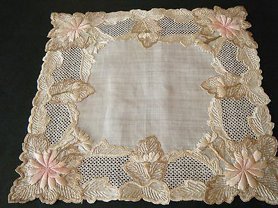 Rare 19c Antique Dresden topper embroideed &drawnwork lace design hand done