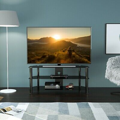 """Black Gloss Glass TV Stand Suitable For LCD LED TVs 40 42 47 55"""" -114cm width"""