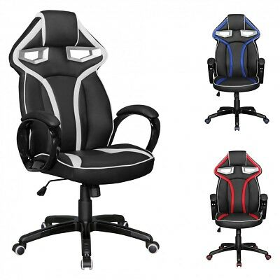 FineBuy Office Chair Race Black Star / Red Gaming président Gamer Chair Racing