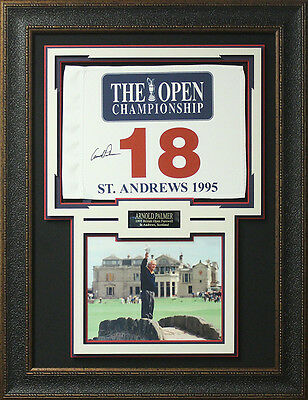 Arnold Palmer Signed 1995 Open Championship Flag Display.