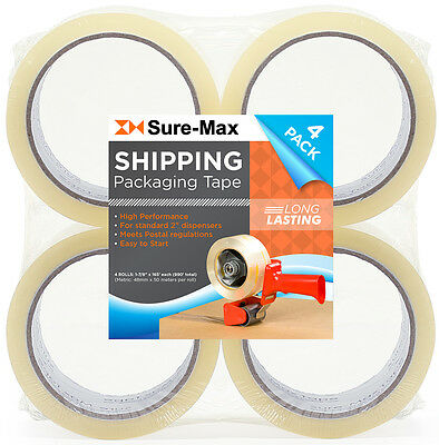 """4 Rolls Clear Box Sealing Packing Tape Shipping - 2 mil 2"""" x 55 Yards (165')"""