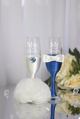 Personalised engraved Hand Blue Decorated Mr & Mrs Wedding Flutes/Set of 2