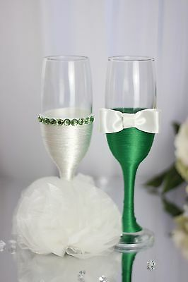 Personalised engraved Hand Green Beads Decorated Mr & Mrs Wedding Flutes/Set of2