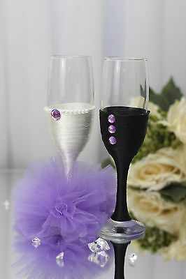 Personalised engraved Hand Decorated Bride & Groom Wedding Purple Flutes Set
