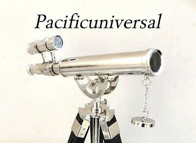 Solid Brass Double Barrel Telescope With Black Tripod Nautical Marine Navy Gift.