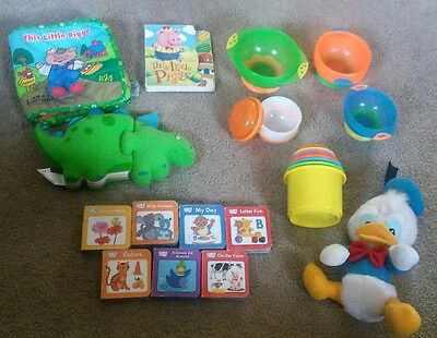 Infant/Toddler Lot: toys, books, feeding accessories