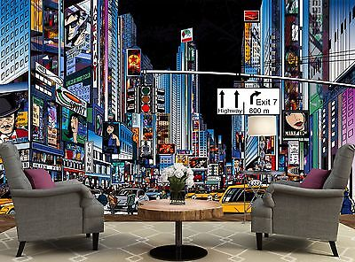 New York City Cartoon Wall Mural Photo Wallpaper Image Decor Giant Paper Poster
