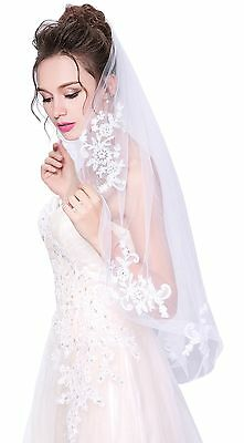 White Bridal Cathedral Veil Lace Edge Bridal Wedding with Rhinestones tulle NEW
