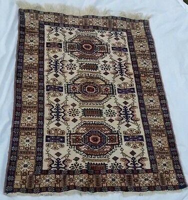 Vintage Worn Distressed Hand Knotted Wool Persian Rug Carpet Bohemian