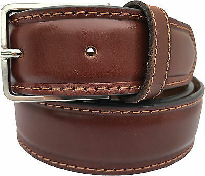 100% Real Italian Leather Belt Tan 35Mm Classic Design S M L Xl Xxl