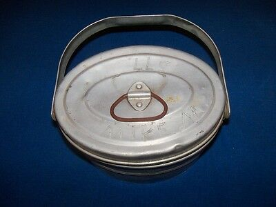 Antique Oval Aluminum Coal Mine Mining Miners Lunch Bucket Pail