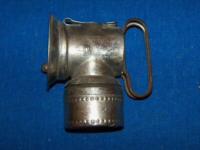 Antique Odd Nickel Coal Mine Mining Justrite Carbide Lamp Lantern Light 1901