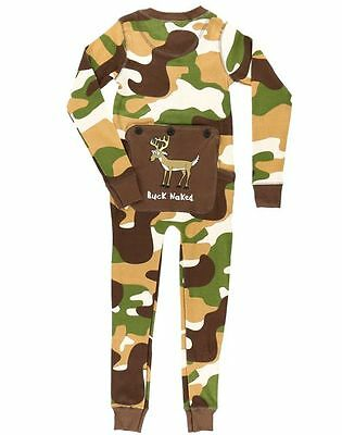 Lazy One Buck Naked Green Camo Flapjacks PJ Pajama Onesie Functioning Back Door