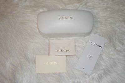 New Valentino Authentic Sunglasses Eyeglasses Hard Case Clam with Cleaning Cloth