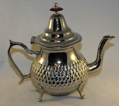 """Vintage White Metal Islamic Teapot With Embossed Sides 7.5"""" Tall"""