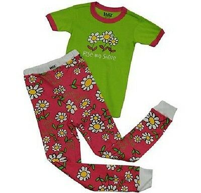 Lazy One Rise and Shine 2 Piece PJ Pajama Set Dasies Flowers Girls Kids