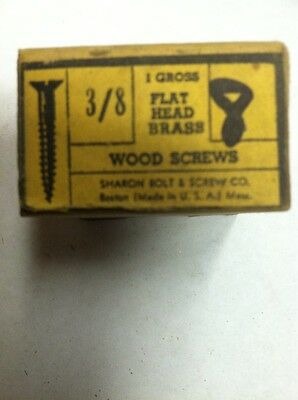 Vintage # 8 X 3/8 Inch Flat HEAD BRASS SLOTTED WOOD SCREWS-144 PER BOX