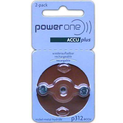 PowerOne Rechargeable Hearing Aid Batteries (Size 312)
