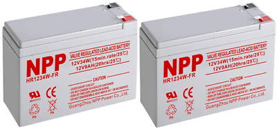 NPP HR1234W 12V34W(15min-rates/77°F) 9Ah HighRate Rechargeable Battery F2 Pack 2