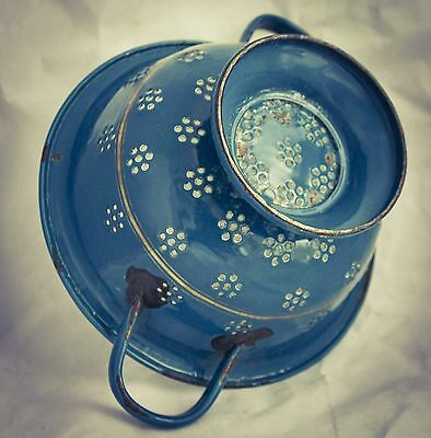 VINTAGE Dutch COLANDER Enamel Blue Petrolblue Enamelware Graniteware Goldtrim
