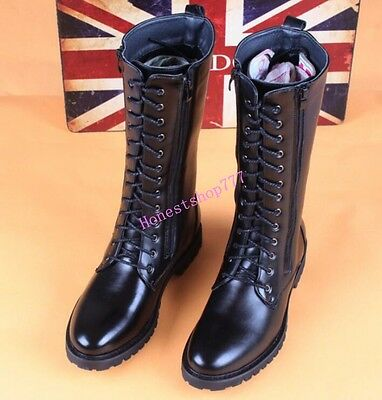 d699f701816 Military New Mens Combat Leather Knee High Boots Lace Up Black Riding Boot  Shoe