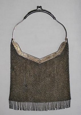 Antique .800 Silver Beaded Mesh Purse Solid Handle Warsaw Poland 1920s 385 Grams