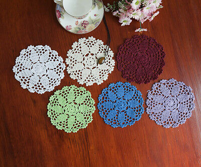 Cotton Hand Crochet Lace Doily Doilies Placemat Mat Round 16CM in 6 Colours FP01