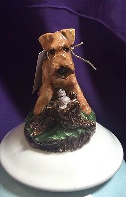 Airedale terrier Bowl And Lid Hand Sculpted ,Painted Kiln Fired By Darci
