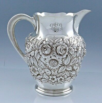 KIRK REPOUSSE Sterling Pitcher Hand Decorated 210AF