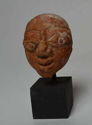 African Tribal Good Ancient Djenne Teracotta Head 12Th Century