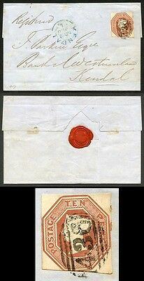 10d Embossed on Registered Wrapper from Lancaster to Kendal.