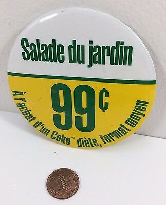 Vintage Mcdonalds Garden Salad Canadian button pinback badge collectible, Coke