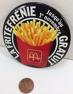 Vintage Mcdonalds Free Fries Canadian button pinback badge collectible pin